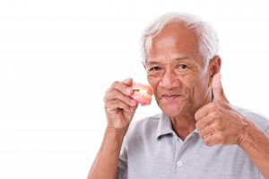 older man with dentures